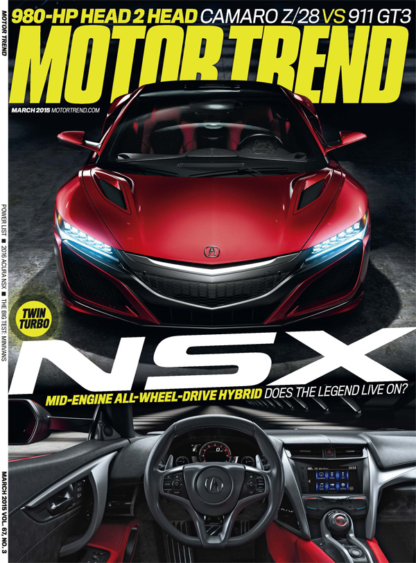 2016 acura nsx makes front cover of motor trend and automobile magazine acura connected. Black Bedroom Furniture Sets. Home Design Ideas