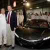Ohio Governor John Kasich and Hidenobu Iwata next to the Acura NSX