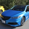 Acura TLX Full Wrap in Matte Blue and Yellow