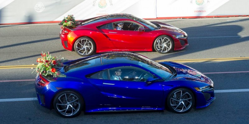 2017 Acura NSX Leads the 2016 Rose Parade as Official Pace Car. Photo by Honda via Twitter