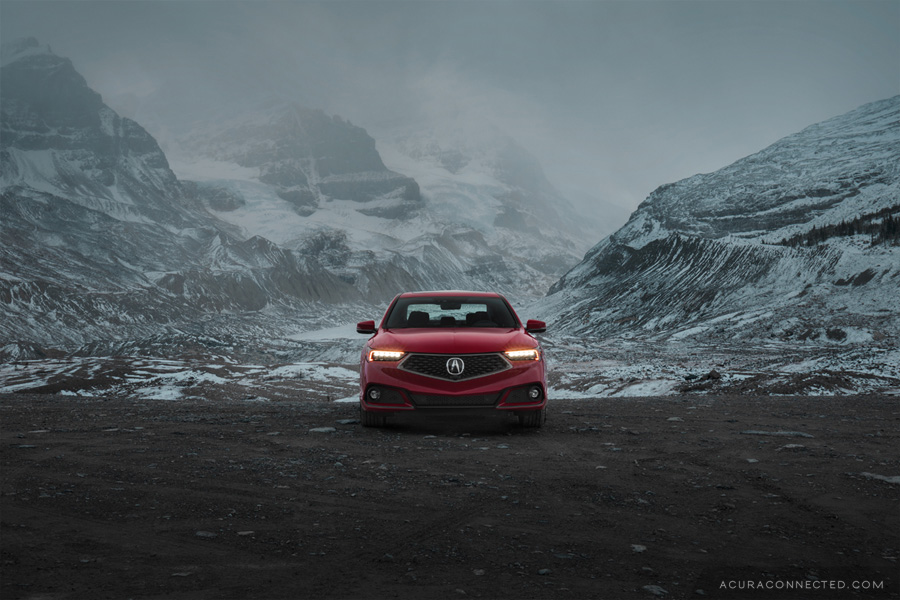 2018 Acura TLX at the Athabasca Glacier