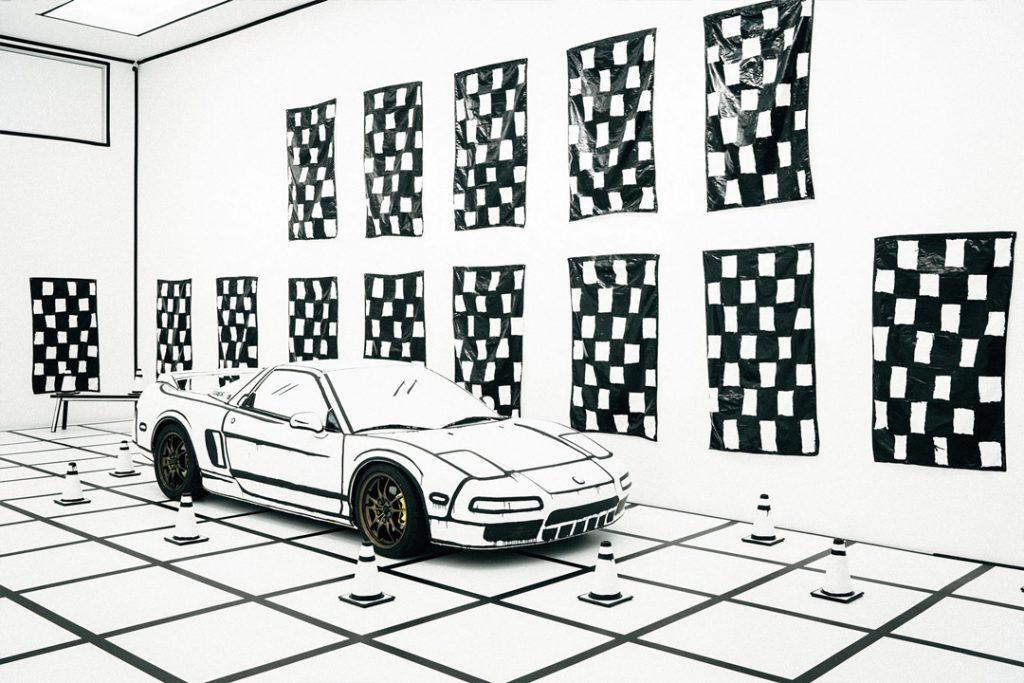Joshua Vides Acura NSX Sketch Illusion. Via hypebeast.com